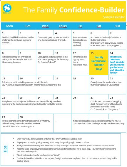 Family Confidence Builder Calendar
